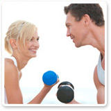 Man and Woman Curling Dumbbells